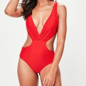 NWT Missguided red plunge swimsuit UK 12 US 8